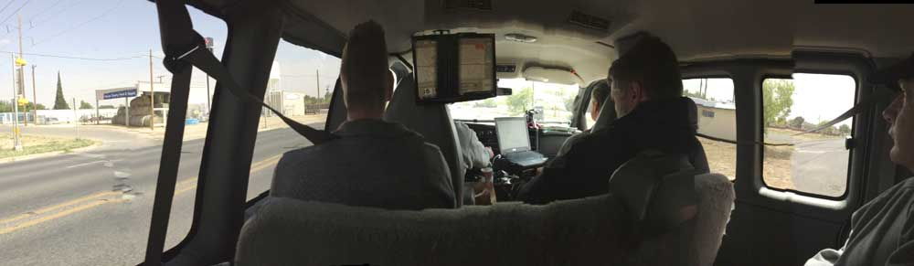 inside the van