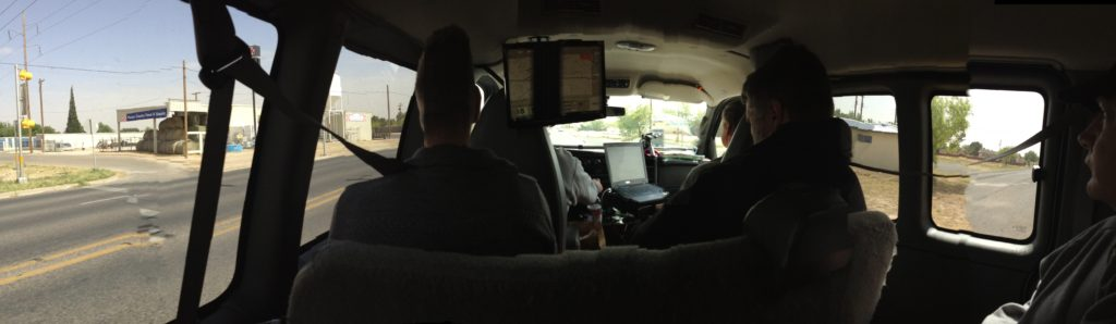 inside of a storm chasing van iphone panorama