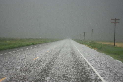 road covered in hail