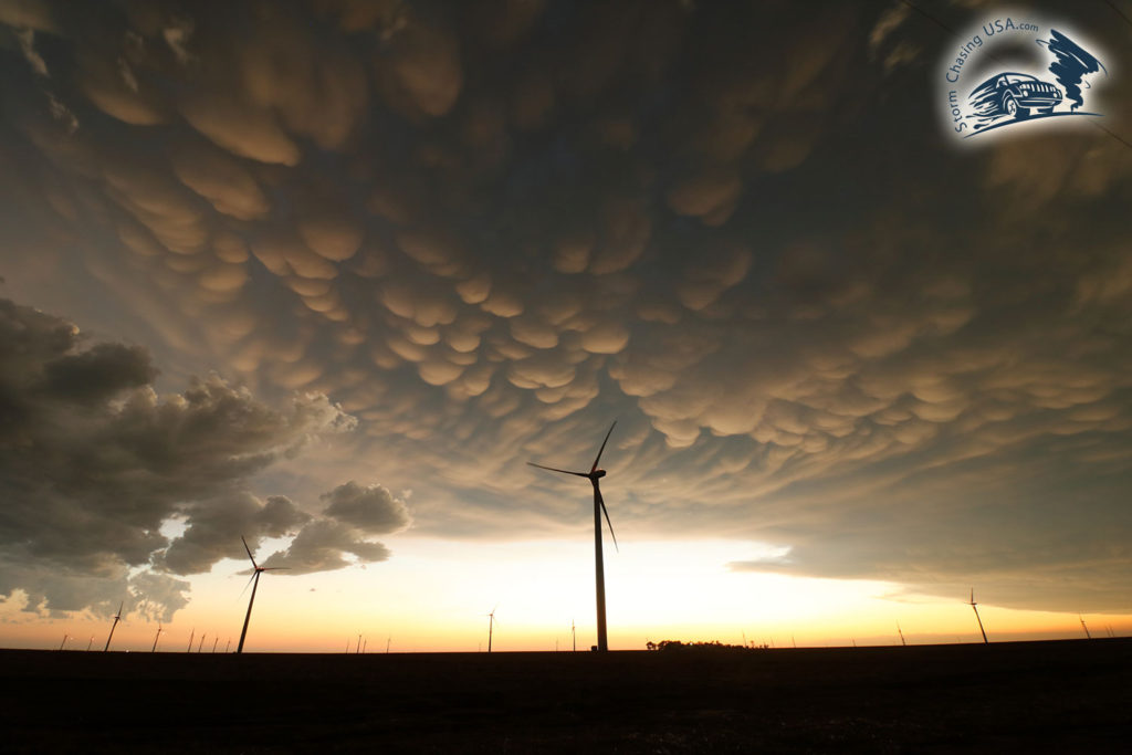 mammtus clouds and wind mills
