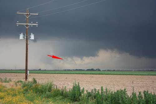small tornado at a distance