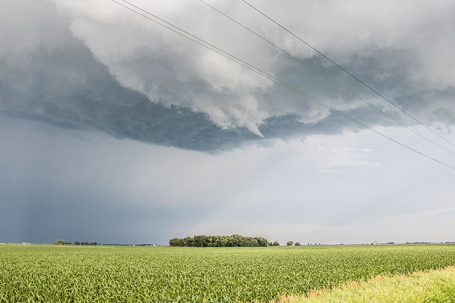 funnel cloud over corn field