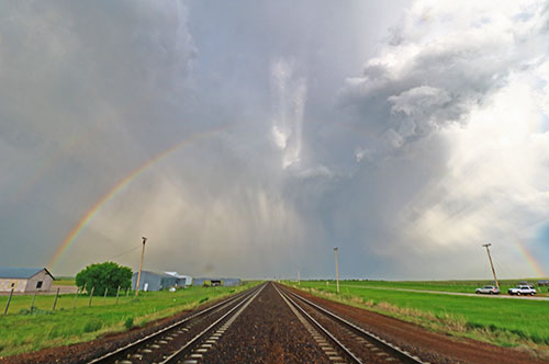 railroad rainbow rays