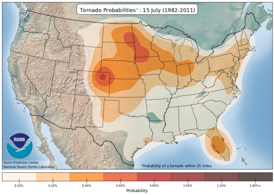 tornado frequency in mid July