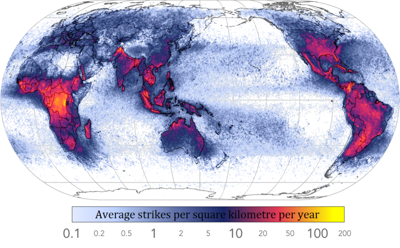 lightning density over the world