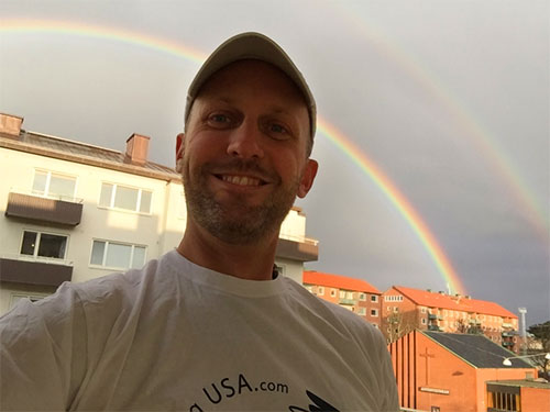 selfie with double rainbow
