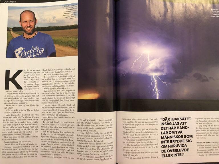 artikel i cafe om storm chasing